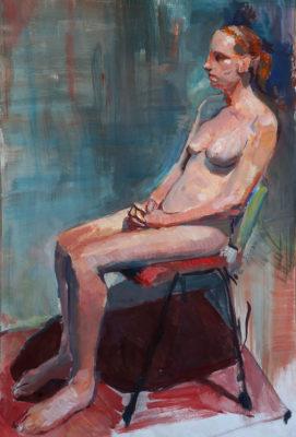 Petr Mucha - studie v malbě - Sedící dívka - 2017 - 75 x 90cm - akryl na papíře