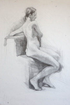 Petr Mucha - study drawing - Sitting Young Lady - 2017 - 80 x 100 cm - pencil on paper