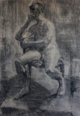 Petr Mucha - figurální studie - Sedící mladík