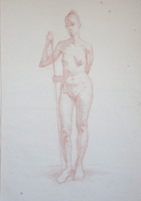 Petr Mucha - studie v kresbě - Young Lady with a Wand - 2015 - 75 x 110cm - red coal on paper