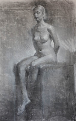 Petr Mucha - study drawing - Sitting Young Lady with Hidden Hands - 2016 - 80 x 95cm - charcoal and white pastel on paper