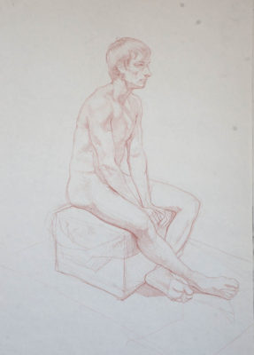 Petr Mucha - study drawing - Sitting Young Man - 2016 - 75 x 90cm - red coal on paper