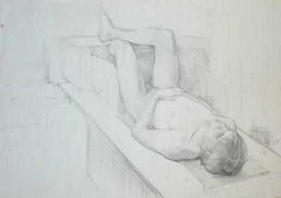 Petr Mucha - study drawing - Lying Young Man - 2017- 115 x 75cm - pen on paper