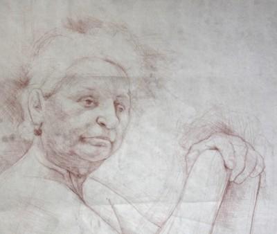 Petr Mucha - study drawing - Misses Kratochvílová - 2012 - red coal on paper - 100x130