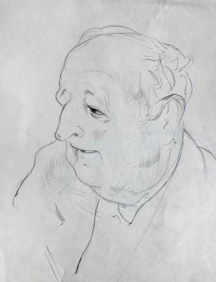 Petr Mucha - study drawing - Boldhead Man - 2011 - 20x25cm - pen on paper