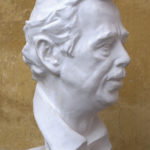 Petr Mucha - portrait plastic - Václav Havel - 2012 - 25 x 25 x 50cm - plaster - front right semi profile