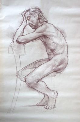Petr Mucha - kresebná studie - Sedící muž - 2011 - 110 x 140cm - hnědá rudka na papíře