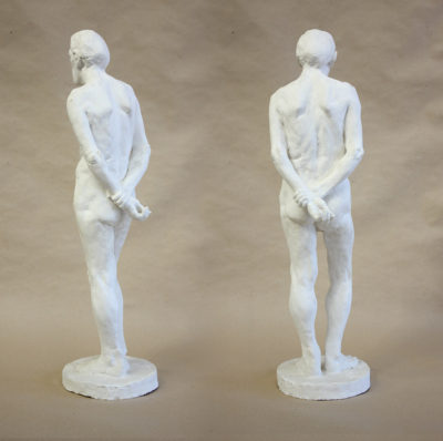 Petr Mucha - study plastic - Václav - 2011 - 30 x 30 x 80cm - plaster - back left semi profile and back view